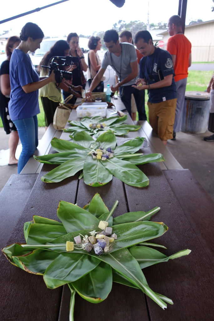 Long view of the offering table where we were assembling the Ti leaf packages. Photo is by Christiane Heinicke, another crew member who remembered to bring a camera.
