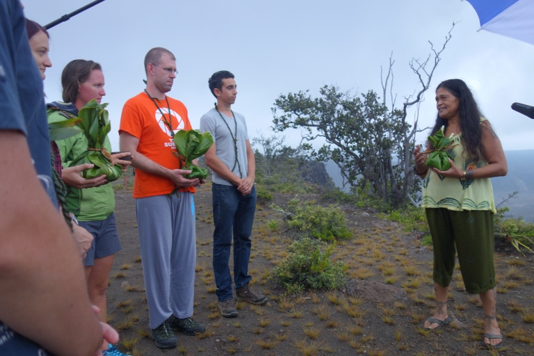 Koa giving us a quick lecture on the process of everything she was about to do, the meaning of it, and then singing her blessings to the volcano. She can sing WAY better than I can. You can see Andrzej and Christiane were the crew members who would place our blessings on the edge after her prayer.