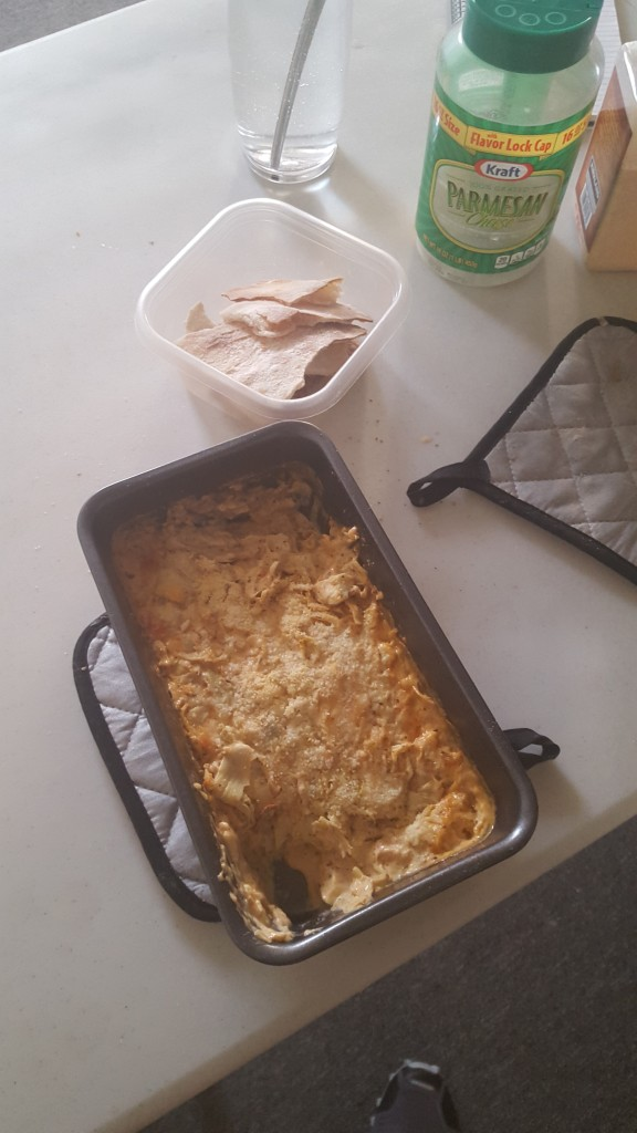 Just an amazing spinach and artichoke heart dip that Carmel and I made. Creams, cheese, spices, all baked up and served with crispy bread chips we made ourselves? Oh...the hedonism! I would fight my own grandma for another tin of this stuff!